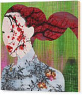 Asian Flower Woman Red Wood Print