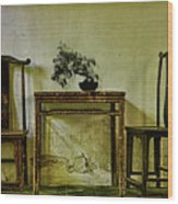 Asian Furniture And Bonsai Wood Print