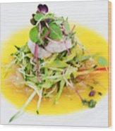 Asian Korean Fusion Fresh Prawn Salad Wood Print