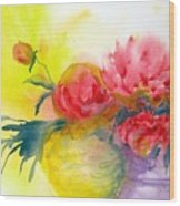 Asian Peonies Wood Print