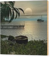 Asian Sunset Scene Wood Print