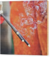 Asian Woman Holding Incense Sticks During Hindu Ceremony In Bali, Indonesia Wood Print