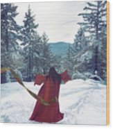 Asian Woman In Red Kimono Dancing On The Snow In The Forest Wood Print