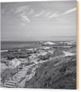 Asilomar Beach Stairway In Black And White Wood Print