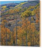 Aspen Cascades In The Sierra Wood Print