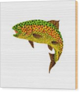 Aspen Leaf Rainbow Trout 1 Wood Print