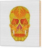 Aspen Leaf Skull 13 Wood Print