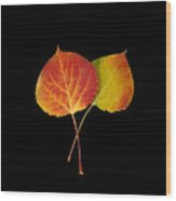 Aspen Leaves Wood Print
