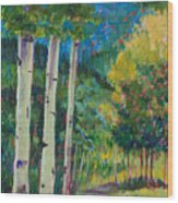 Aspen Trails Wood Print by Billie Colson
