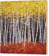 Aspens Aglow Wood Print