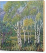 Aspens In The Rockies Wood Print