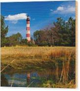 Assateague Lighthouse Reflection Wood Print