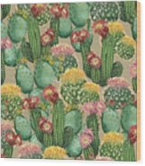 Assorted Blooming Cactus Plants Wood Print