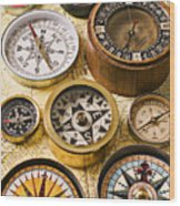 Assorted Compasses Wood Print