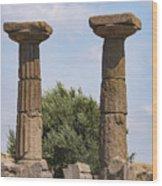 Assos Temple Of Athena Columns Wood Print