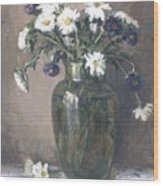Asters And Daisies Wood Print