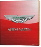 Aston Martin - 3 D Badge on Red Wood Print