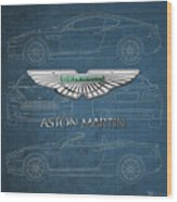 Aston Martin 3 D Badge Over Aston Martin D B 9 Blueprint Wood Print