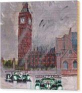 Aston Martin Racing In London Wood Print