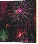 Astonishing Fireworks Wood Print