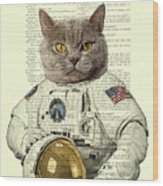 Astronaut Cat Illustration Wood Print