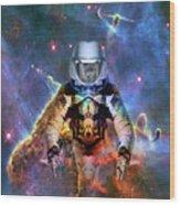 Astronaut Disintegration Wood Print