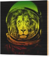 Astronaut Lion Colorful Ready For Space Wood Print