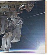 Astronaut Terry Virts Eva Wood Print
