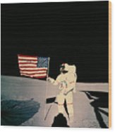 Astronaut With Us Flag On Moon Wood Print