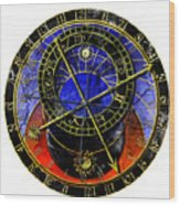 Astronomical Clock In Grunge Style Wood Print