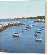 At Anchor In Rockport Ma Harbor Wood Print