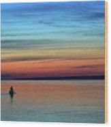 At Dawn In A Canoe  Wood Print