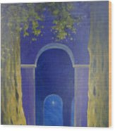 At Night In The Temple Wood Print