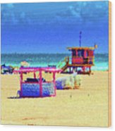 At The Beach Wood Print
