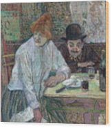 At The Cafe La Mie About 1891 Wood Print