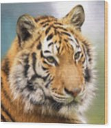 At The Center - Tiger Art Wood Print