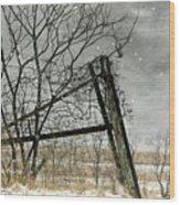 At The End...fence Post Wood Print by Stephanie Calhoun