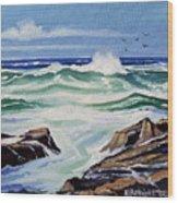 At The Ocean Wood Print