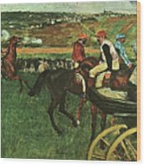 At The Races, Digitally Enhanced, Edgar Degas, Digitally Enhanced Maximum Resolution Wood Print