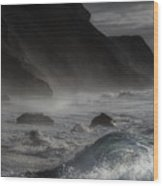 At The Sight Of The Wave Wood Print