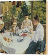 At The Tea-table Wood Print