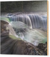 At The Top Of Lower Lewis River Falls Wood Print