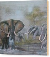 At The Waterhole Wood Print