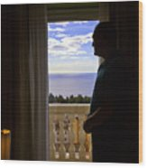 At The Window In Taormina Wood Print