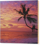 Atardecer En La Palmera Playa Blanca Wood Print