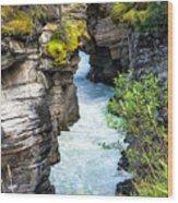 Athabaska River Slot Canyon Wood Print