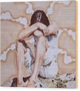 Athabaskan Girl On A Rock Wood Print