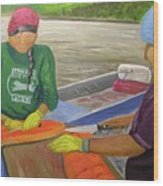 Athabaskan Women Cutting Salmon Wood Print by Amy Reisland-Speer