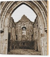 Athassel Priory Tipperary Ireland Medieval Ruins Decorative Arched Doorway Into Great Hall Sepia Wood Print