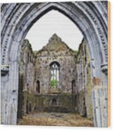 Athassel Priory Tipperary Ireland Medieval Ruins Decorative Arched Doorway Into Great Hall Wood Print